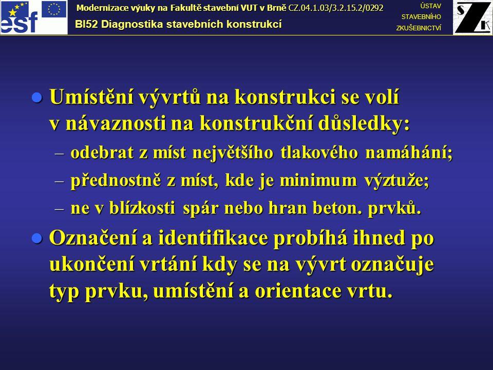 Odběr betonu z trámu – Ø 50 mm Odběr betonu z trámu – Ø 50 mm BI52 Diagnostika stavebních konstrukcí ÚSTAV STAVEBNÍHO ZKUŠEBNICTVÍ Modernizace výuky na Fakultě stavební VUT v Brně CZ.04.1.03/3.2.15.2/0292