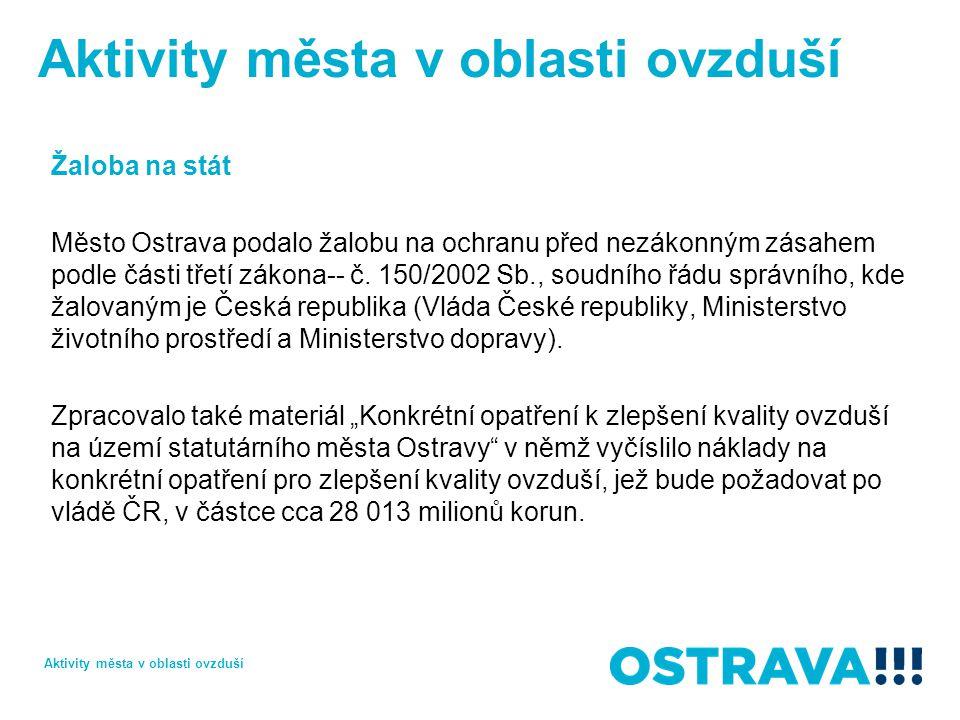 Žaloba na stát Město Ostrava podalo žalobu na ochranu před nezákonným zásahem podle části třetí zákona-- č.