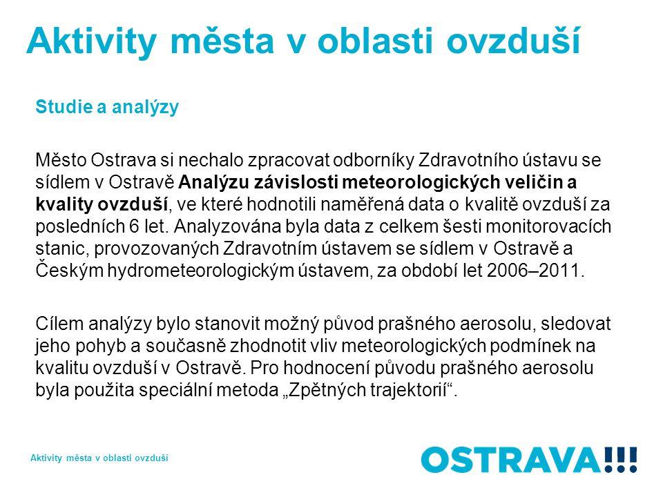 Studie a analýzy Město Ostrava si nechalo zpracovat odborníky Zdravotního ústavu se sídlem v Ostravě Analýzu závislosti meteorologických veličin a kvality ovzduší, ve které hodnotili naměřená data o kvalitě ovzduší za posledních 6 let.