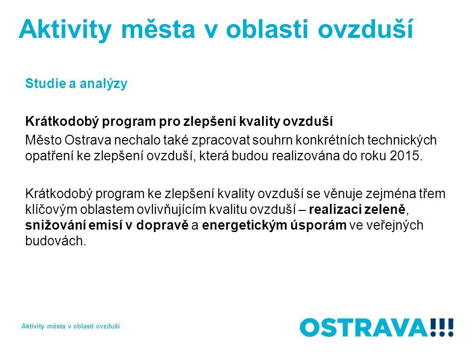 Studie a analýzy Krátkodobý program pro zlepšení kvality ovzduší Město Ostrava nechalo také zpracovat souhrn konkrétních technických opatření ke zlepšení ovzduší, která budou realizována do roku 2015.