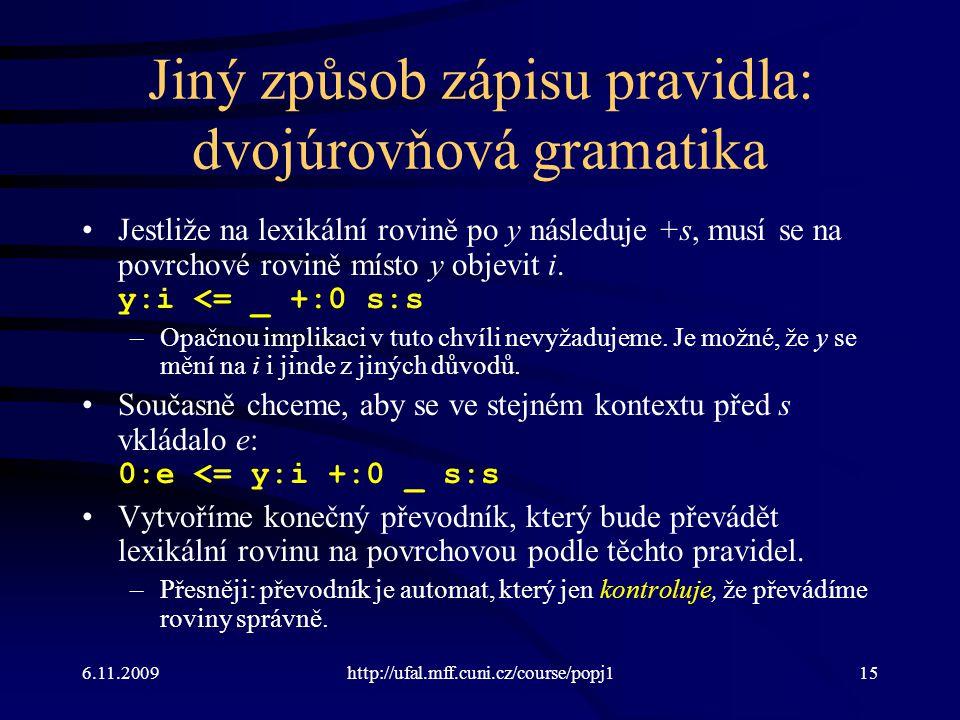 6.11.2009http://ufal.mff.cuni.cz/course/popj115 Jiný způsob zápisu pravidla: dvojúrovňová gramatika Jestliže na lexikální rovině po y následuje +s, mu