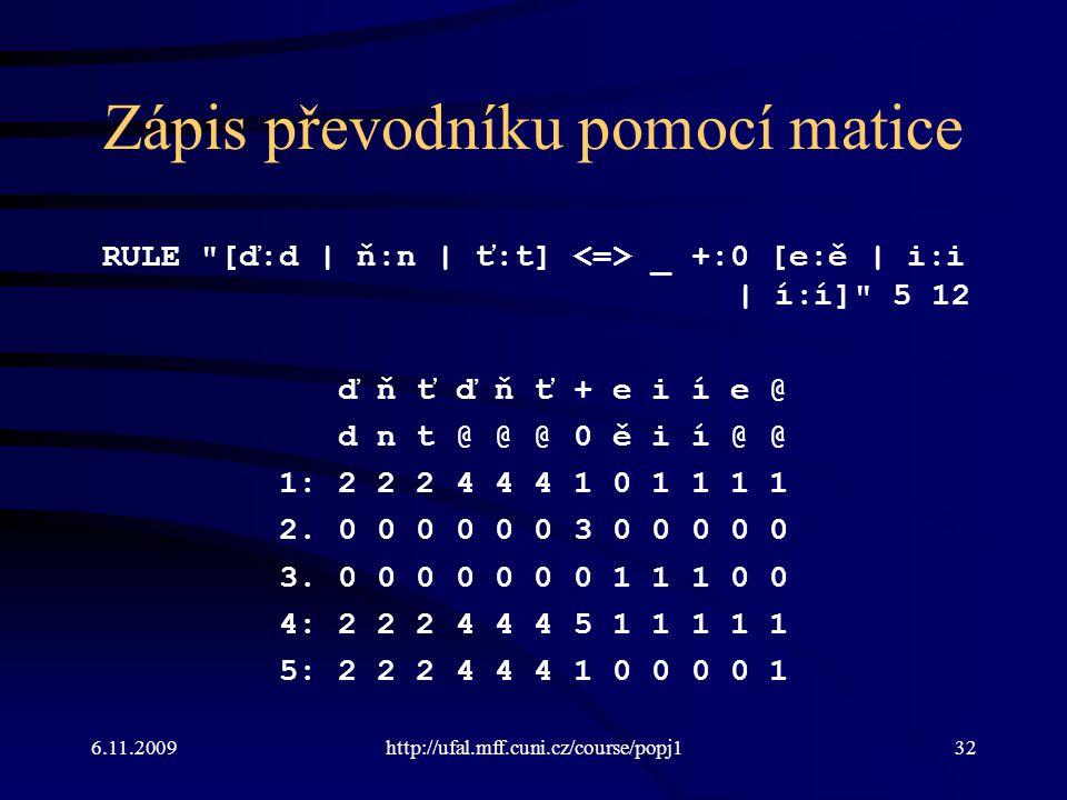 6.11.2009http://ufal.mff.cuni.cz/course/popj132 Zápis převodníku pomocí matice RULE
