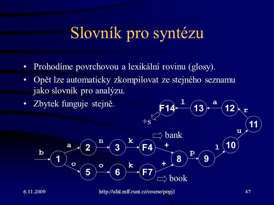 6.11.2009http://ufal.mff.cuni.cz/course/popj147 Slovník pro syntézu Prohodíme povrchovou a lexikální rovinu (glosy). Opět lze automaticky zkompilovat