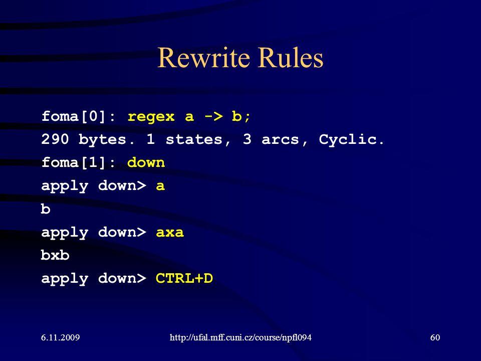 Rewrite Rules foma[0]: regex a -> b; 290 bytes. 1 states, 3 arcs, Cyclic. foma[1]: down apply down> a b apply down> axa bxb apply down> CTRL+D 6.11.20