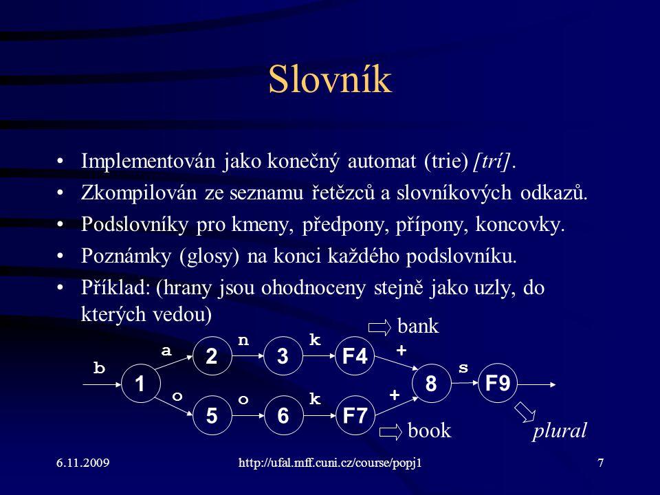 Czech Lexicon Example Multichar_Symbols +NF +Masc +Fem +Neut +Sg +Pl +Nom +Gen +Dat +Acc +Voc +Loc +Ins LEXICON Root Noun; Adj; AdjSup; LEXICON Noun žena:žen NFzena; matka:matk NFzena; LEXICON NFzena +NF+Sg+Nom:^a #; +NF+Sg+Gen:^y #; +NF+Sg+Dat:^e #; … 6.11.2009http://ufal.mff.cuni.cz/course/npfl09478