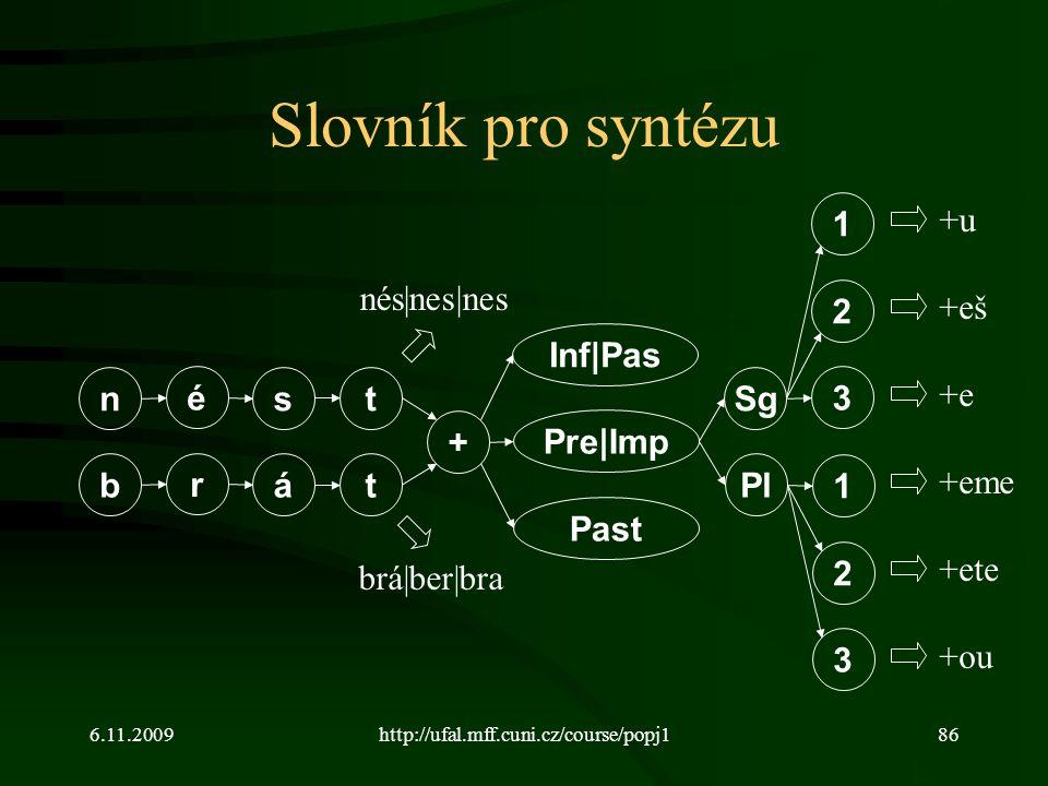 6.11.2009http://ufal.mff.cuni.cz/course/popj186 Slovník pro syntézu n é st b r át + Inf|Pas Pre|Imp Past brá|ber|bra nés|nes|nes Sg Pl 2 1 3 2 1 3 +u