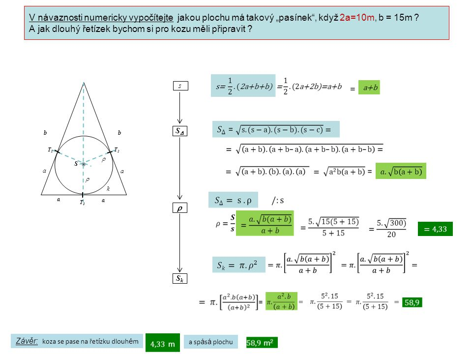 """V návaznosti numericky vypočítejte jakou plochu má takový """"pasínek , když 2a=10m, b = 15m ."""