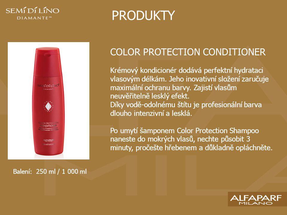 PRODUKTY COLOR PROTECTION CONDITIONER Krémový kondicionér dodává perfektní hydrataci vlasovým délkám.