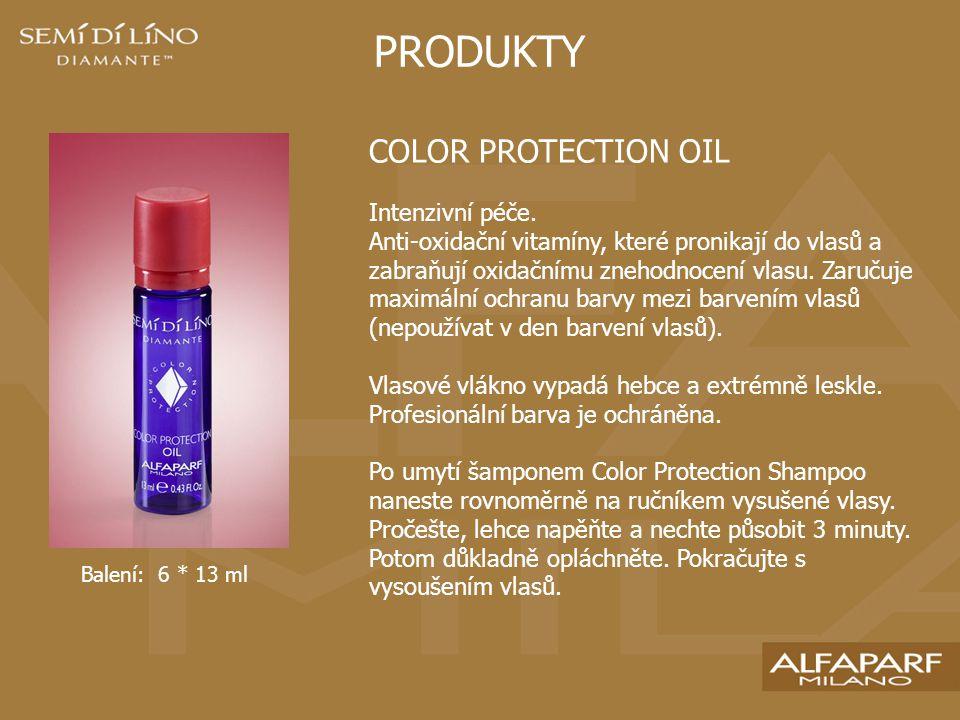 PRODUKTY COLOR PROTECTION CRYSTALS Ultralehký štít chránící vlas proti oxidačním činitelům a prodlužující stálost barvy.