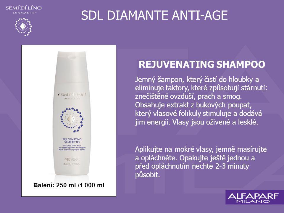 SDL DIAMANTE ANTI-AGE REJUVENATING SHAMPOO Jemný šampon, který čistí do hloubky a eliminuje faktory, které způsobují stárnutí: znečištěné ovzduší, prach a smog.