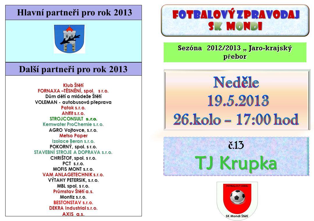 Starší dorost Štětí-Junior Děčín 27.4.2013 Na čele krajského přeboru se toho moc nezměnilo.