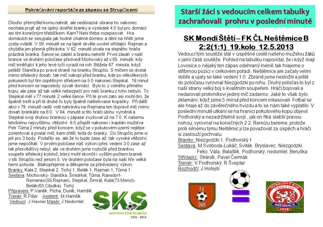 SK Mondi Št ě tí – FK Č L Nešt ě mice B 2:2(1:1) 19.kolo 12.5.2013 Vedoucí tým soutěže stál v úspěšné cestě našeho mužstvu žáků v jarní části soutěže.
