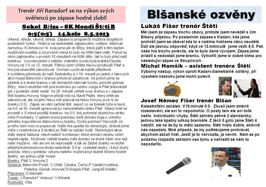 Blšanské ozvěny Lukáš Fišer trenér Štětí Měl jsem ze zápasu trochu obavy, protože jsem nevěděl s čím Blšany přijedou. Po posledním zápase s Kadaní, kd