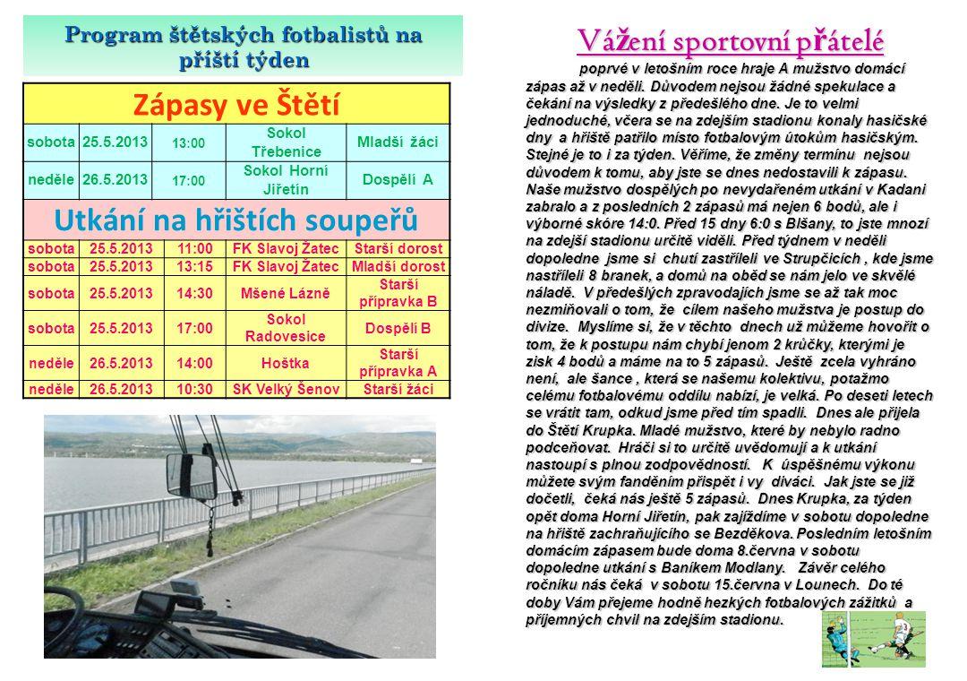 SK Mondi Št ě tí – AFK LoKo Chomutov 0:2(0:2) 11.5.2013 21.kolo V dalším kole krajského přeboru se utkala 2 mužstva ze spodní poloviny tabulky.