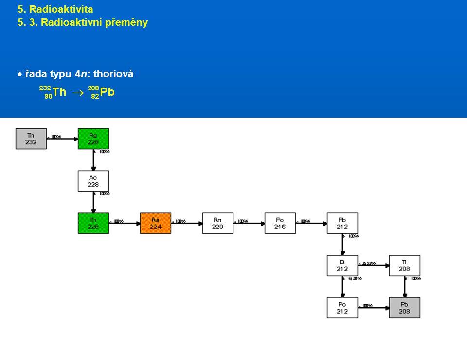 5. Radioaktivita 5. 3. Radioaktivní přeměny  řada typu 4n: thoriová