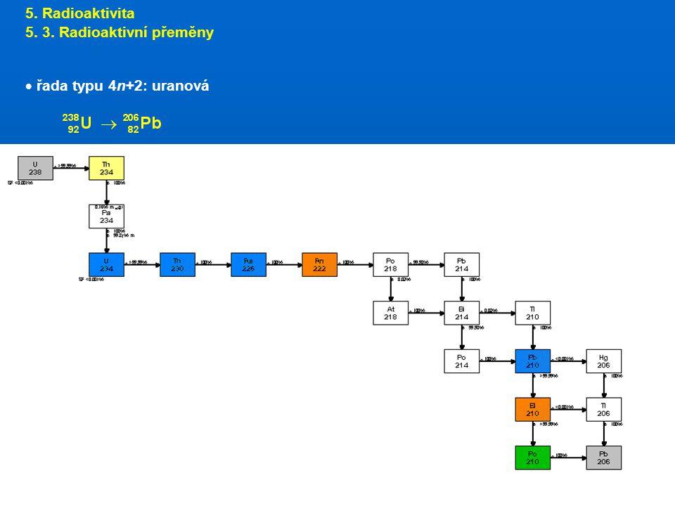 5. Radioaktivita 5. 3. Radioaktivní přeměny  řada typu 4n+2: uranová