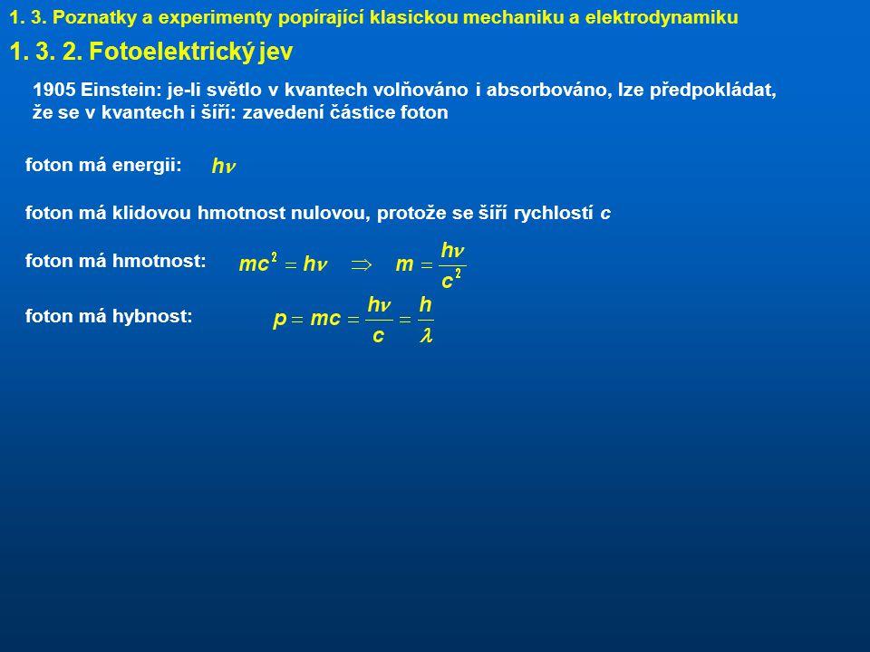 1.3. Poznatky a experimenty popírající klasickou mechaniku a elektrodynamiku 1.