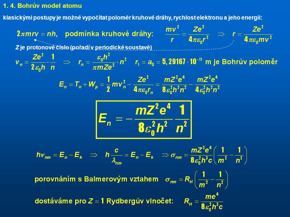 klasickými postupy je možné vypočítat poloměr kruhové dráhy, rychlost elektronu a jeho energii: 1.