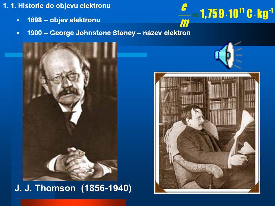 1. 2. První modely atomu  1898 – pudinkový model atomu: J. J. Thomson J. J. Thomson (1856-1940)