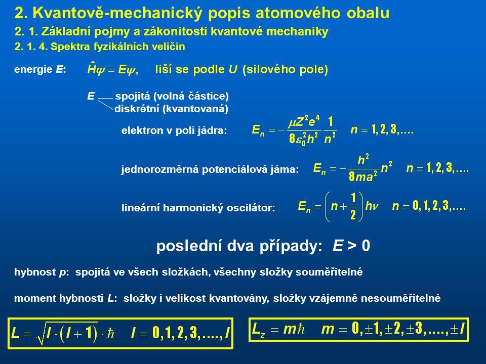 2.Kvantově-mechanický popis atomového obalu 2. 1.