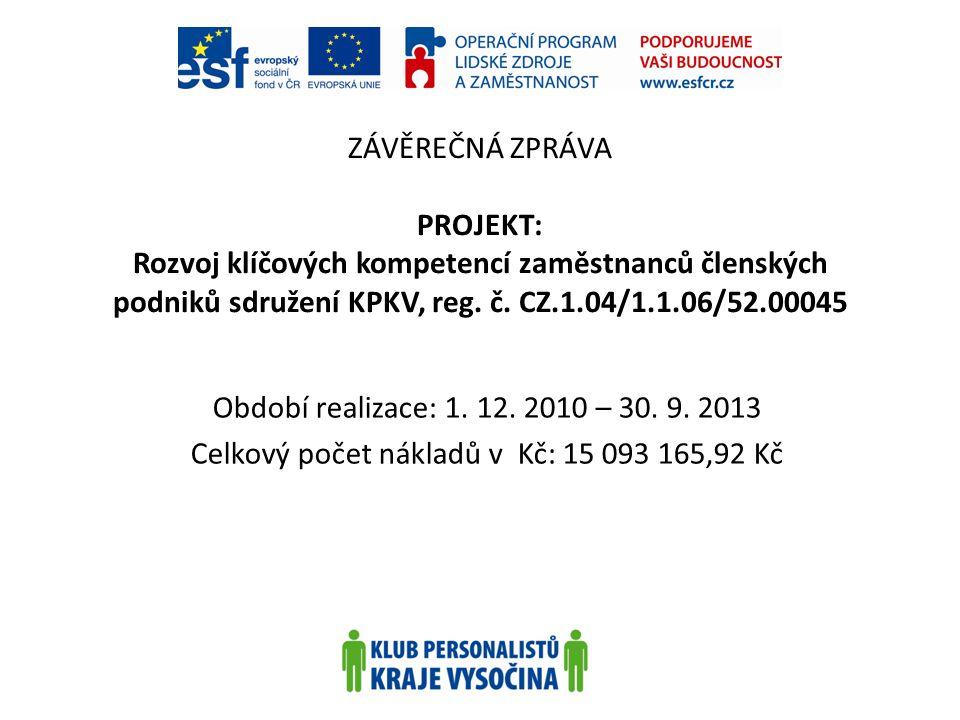 ZÁVĚREČNÁ ZPRÁVA PROJEKT: Rozvoj klíčových kompetencí zaměstnanců členských podniků sdružení KPKV, reg. č. CZ.1.04/1.1.06/52.00045 Období realizace: 1