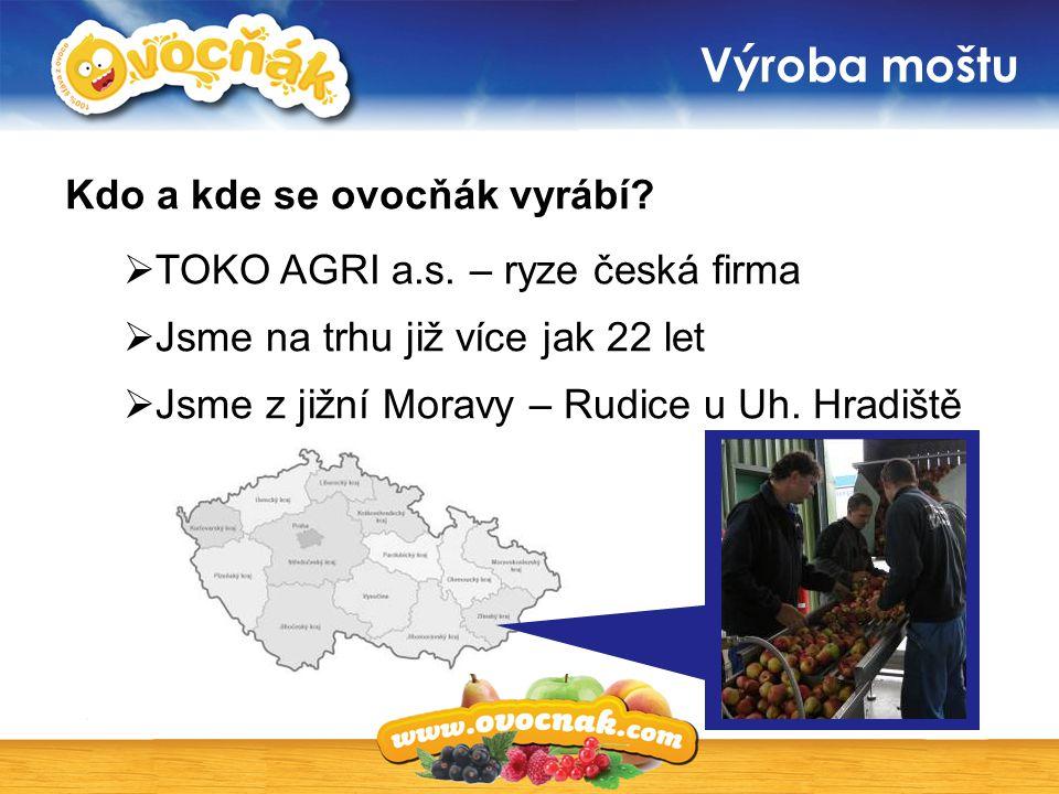 Výroba moštu  TOKO AGRI a.s. – ryze česká firma  Jsme na trhu již více jak 22 let  Jsme z jižní Moravy – Rudice u Uh. Hradiště Kdo a kde se ovocňák