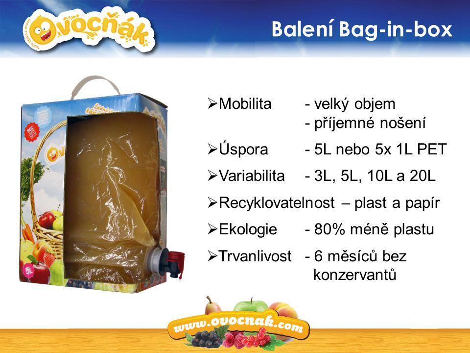 Balení Bag-in-box  Mobilita - velký objem - příjemné nošení  Úspora - 5L nebo 5x 1L PET  Variabilita - 3L, 5L, 10L a 20L  Recyklovatelnost – plast
