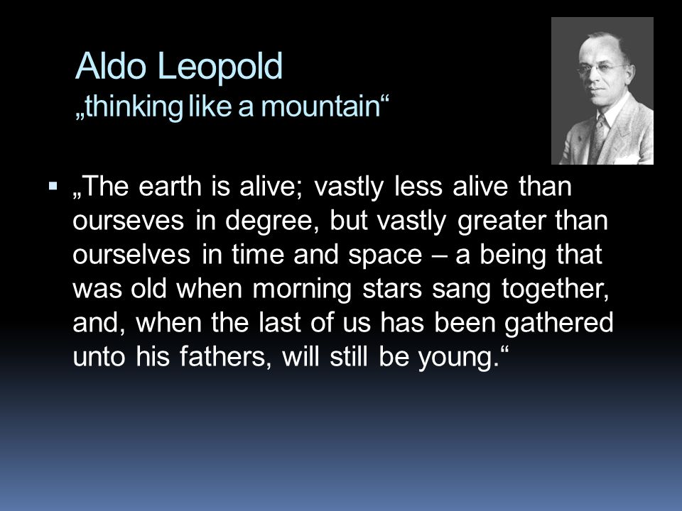 "Aldo Leopold ""thinking like a mountain""  ""The earth is alive; vastly less alive than ourseves in degree, but vastly greater than ourselves in time an"