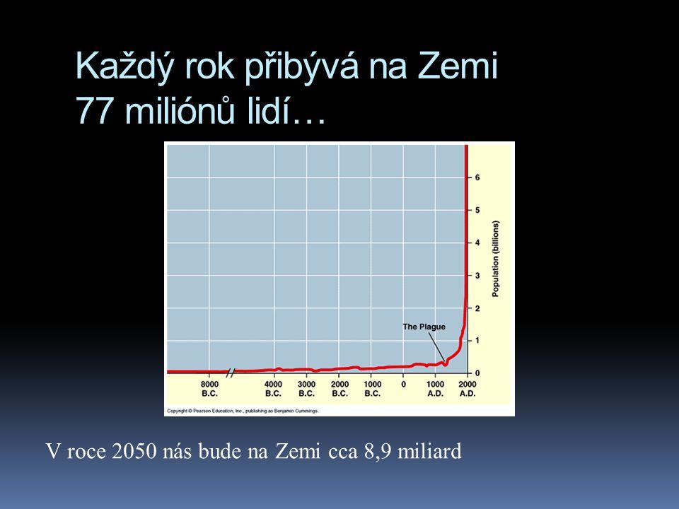 Každý rok přibývá na Zemi 77 miliónů lidí… V roce 2050 nás bude na Zemi cca 8,9 miliard