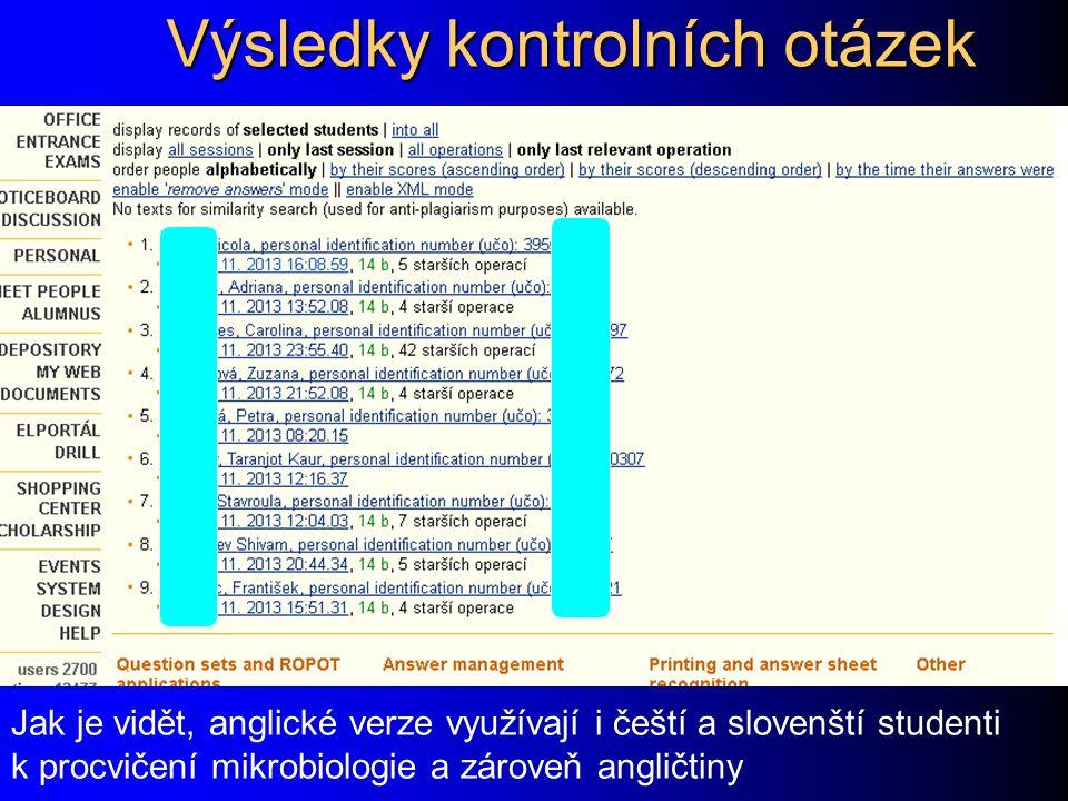 Výsledky kontrolních otázek Jak je vidět, anglické verze využívají i čeští a slovenští studenti k procvičení mikrobiologie a zároveň angličtiny