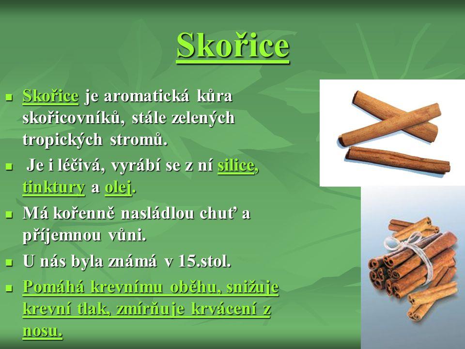 Skořice Skořice je aromatická kůra skořicovníků, stále zelených tropických stromů.