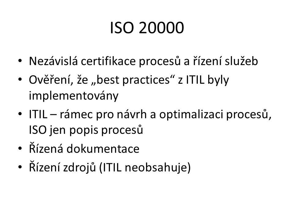"""Nezávislá certifikace procesů a řízení služeb Ověření, že """"best practices"""" z ITIL byly implementovány ITIL – rámec pro návrh a optimalizaci procesů, I"""