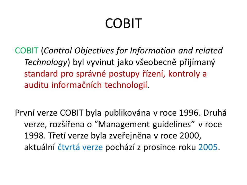 COBIT COBIT (Control Objectives for Information and related Technology) byl vyvinut jako všeobecně přijímaný standard pro správné postupy řízení, kont