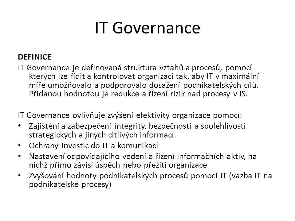 IT Governance DEFINICE IT Governance je definovaná struktura vztahů a procesů, pomocí kterých lze řídit a kontrolovat organizaci tak, aby IT v maximál
