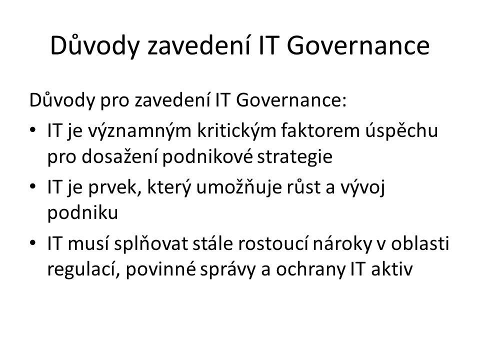 Důvody zavedení IT Governance Důvody pro zavedení IT Governance: IT je významným kritickým faktorem úspěchu pro dosažení podnikové strategie IT je prv