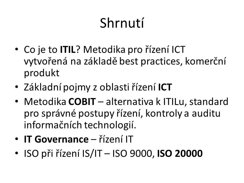Shrnutí Co je to ITIL? Metodika pro řízení ICT vytvořená na základě best practices, komerční produkt Základní pojmy z oblasti řízení ICT Metodika COBI