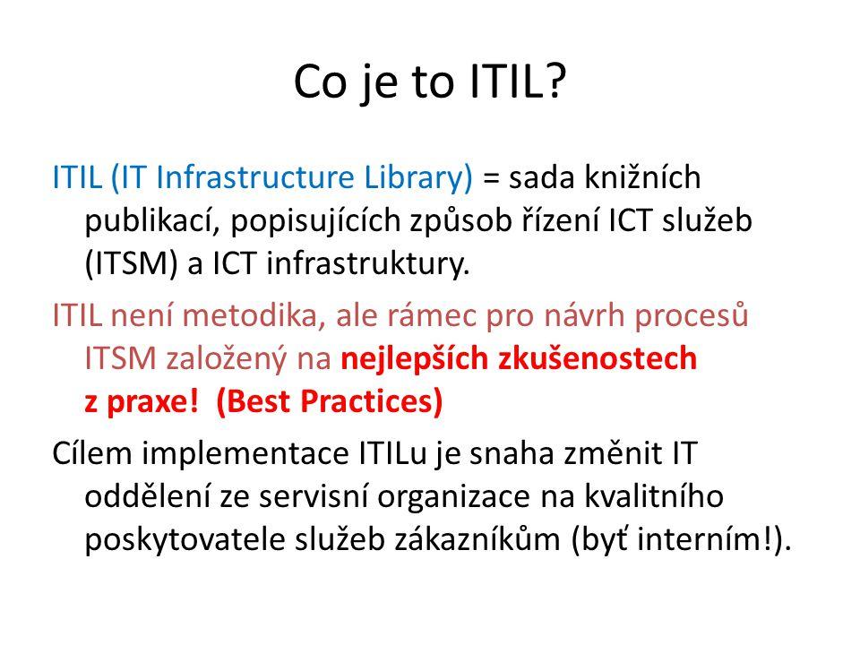"""Vztah ITIL a ISO norem ISO 9000 – definuje procesní přístup ISO 9001 – vyžaduje využívání procesního řízení ITIL – rámec pro řízení procesů, určuje """"jak bychom to měli dělat ISO 20000 – norma pro řízení IT služeb (ITSM), definuje kritéria, k nímž by měla iniciativa zdokonalování IT procesů směrovat – """"co bychom měli dělat"""