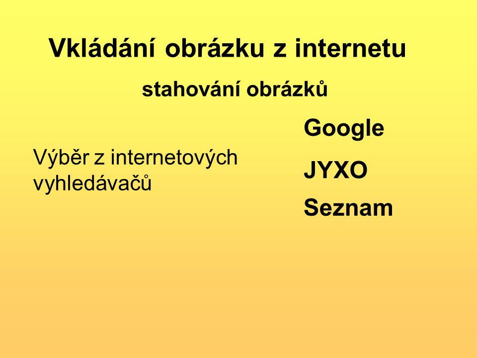 Vkládání obrázku z internetu stahování obrázků Výběr z internetových vyhledávačů Google JYXO Seznam