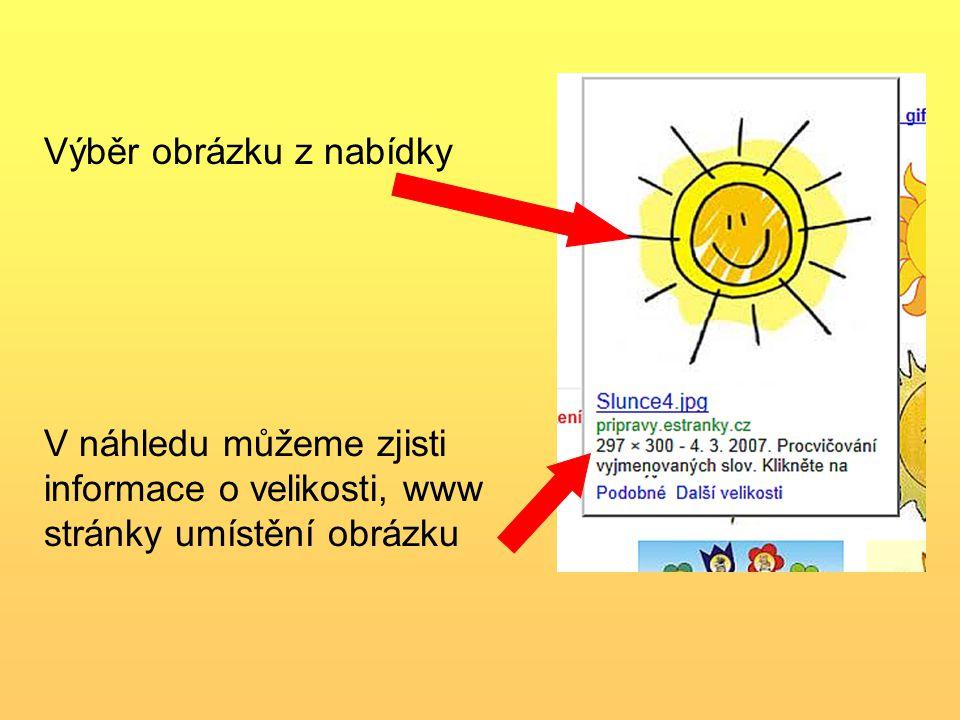 Výběr obrázku z nabídky V náhledu můžeme zjisti informace o velikosti, www stránky umístění obrázku