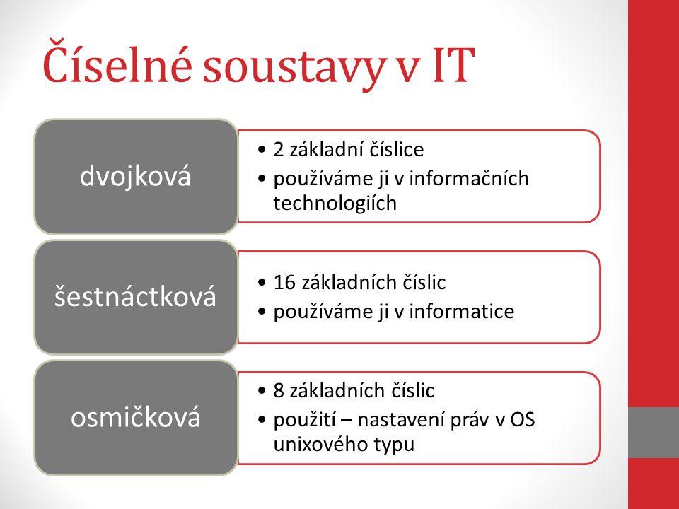Číselné soustavy v IT 2 základní číslice používáme ji v informačních technologiích dvojková 16 základních číslic používáme ji v informatice šestnáctková 8 základních číslic použití – nastavení práv v OS unixového typu osmičková