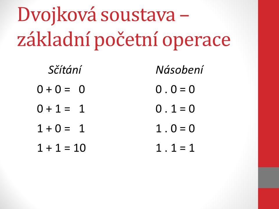 Dvojková soustava – základní početní operace Sčítání 0 + 0 = 0 0 + 1 = 1 1 + 0 = 1 1 + 1 = 10 Násobení 0.