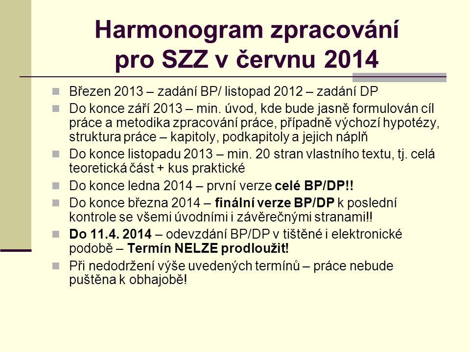 Harmonogram zpracování pro SZZ v červnu 2014 Březen 2013 – zadání BP/ listopad 2012 – zadání DP Do konce září 2013 – min.