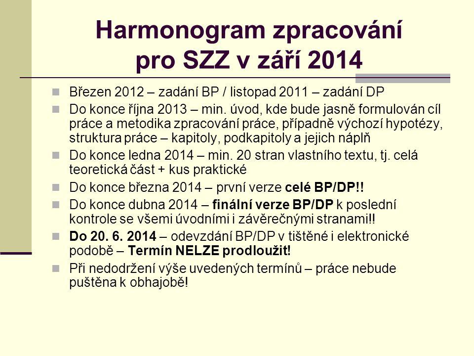 Harmonogram zpracování pro SZZ v září 2014 Březen 2012 – zadání BP / listopad 2011 – zadání DP Do konce října 2013 – min.