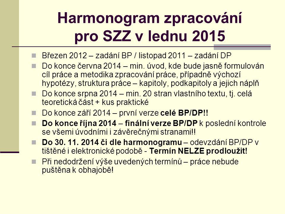 Harmonogram zpracování pro SZZ v lednu 2015 Březen 2012 – zadání BP / listopad 2011 – zadání DP Do konce června 2014 – min.