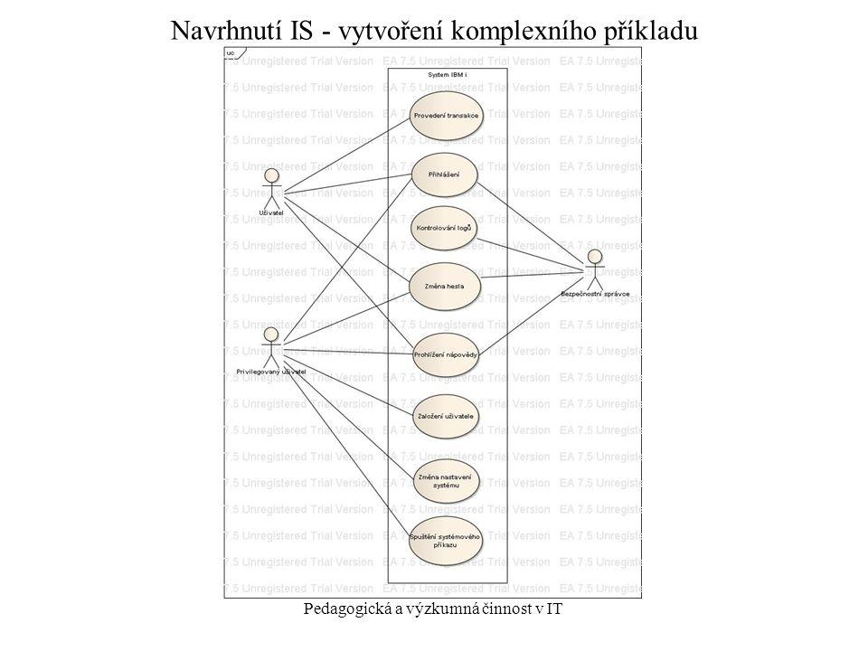 Pedagogická a výzkumná činnost v IT Navrhnutí IS - vytvoření komplexního příkladu