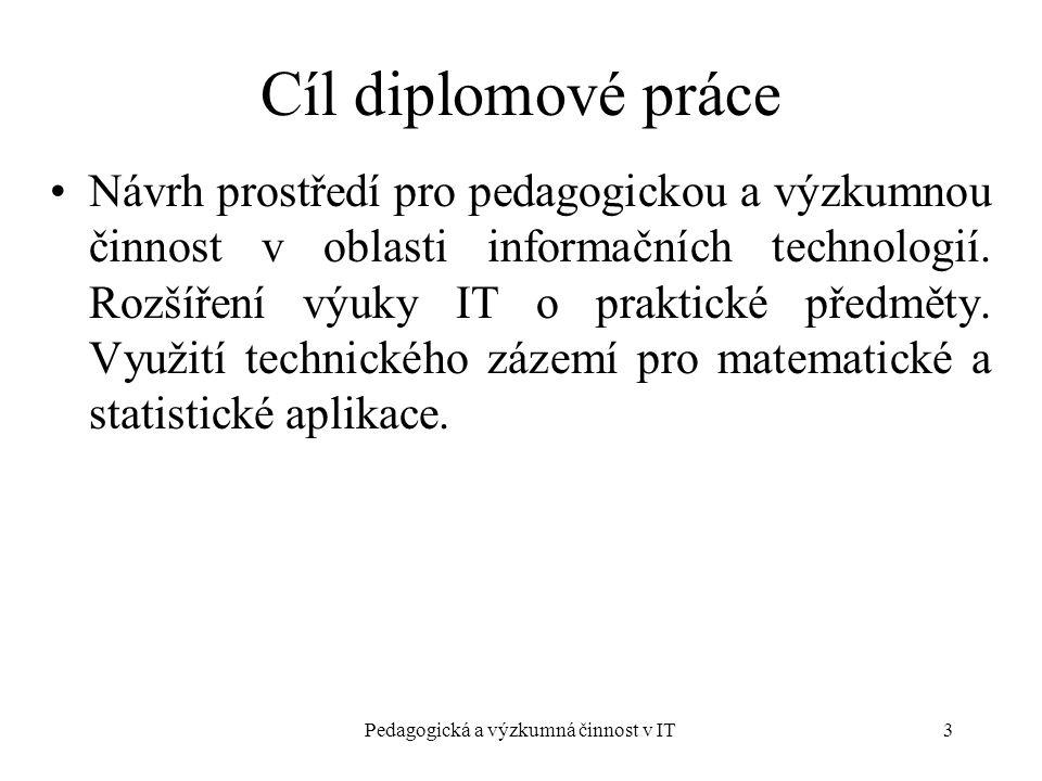 Pedagogická a výzkumná činnost v IT3 Návrh prostředí pro pedagogickou a výzkumnou činnost v oblasti informačních technologií.