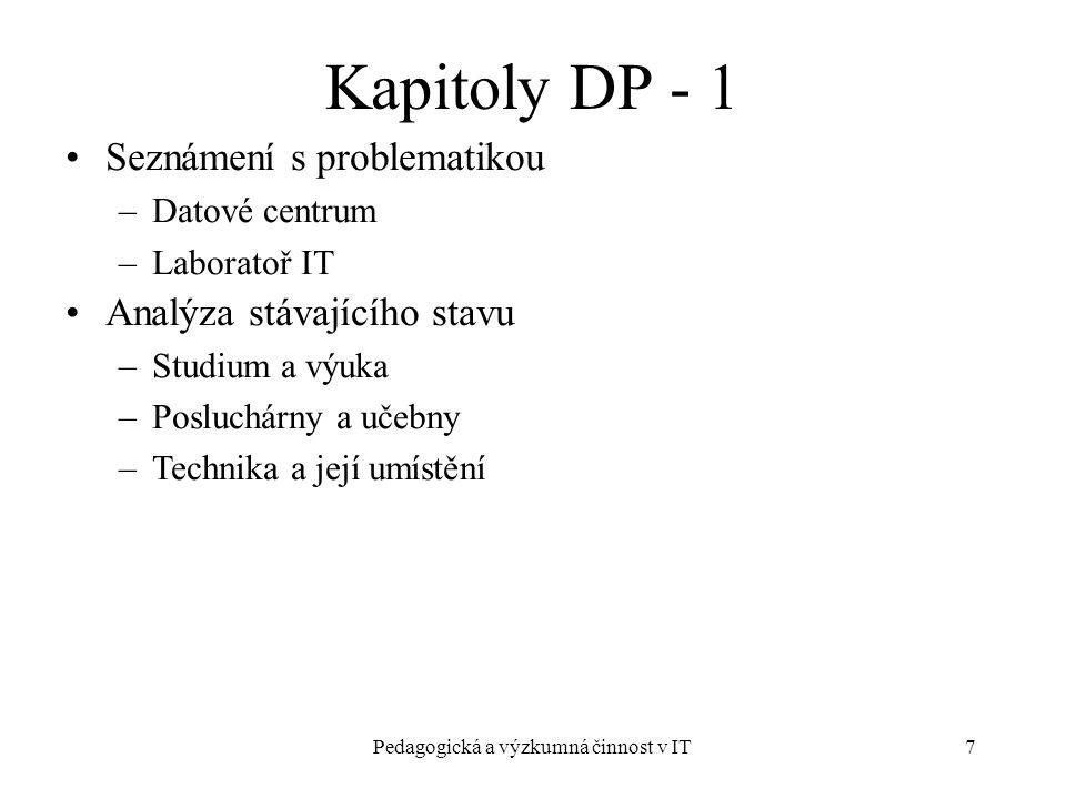 Pedagogická a výzkumná činnost v IT7 Kapitoly DP - 1 Seznámení s problematikou –Datové centrum –Laboratoř IT Analýza stávajícího stavu –Studium a výuka –Posluchárny a učebny –Technika a její umístění