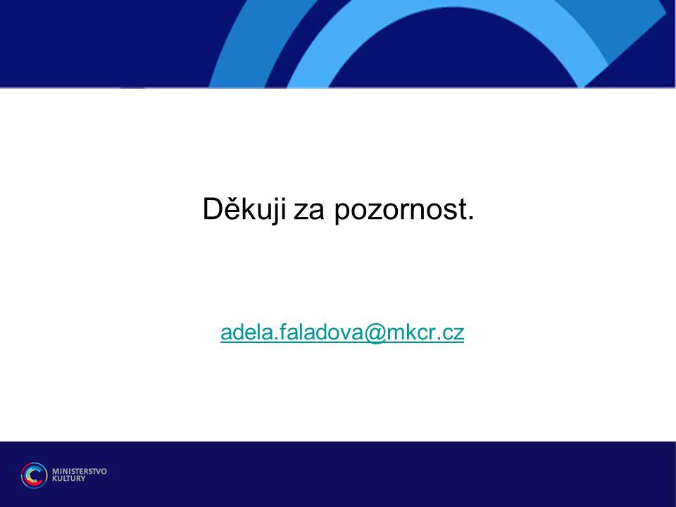 Děkuji za pozornost. adela.faladova@mkcr.czadela.faladova@mkcr.cz