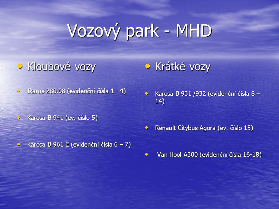 Vozový park - MHD Kloubové vozy Kloubové vozy Ikarus 280.08 (evidenční čísla 1 - 4) Ikarus 280.08 (evidenční čísla 1 - 4) Karosa B 941 (ev.