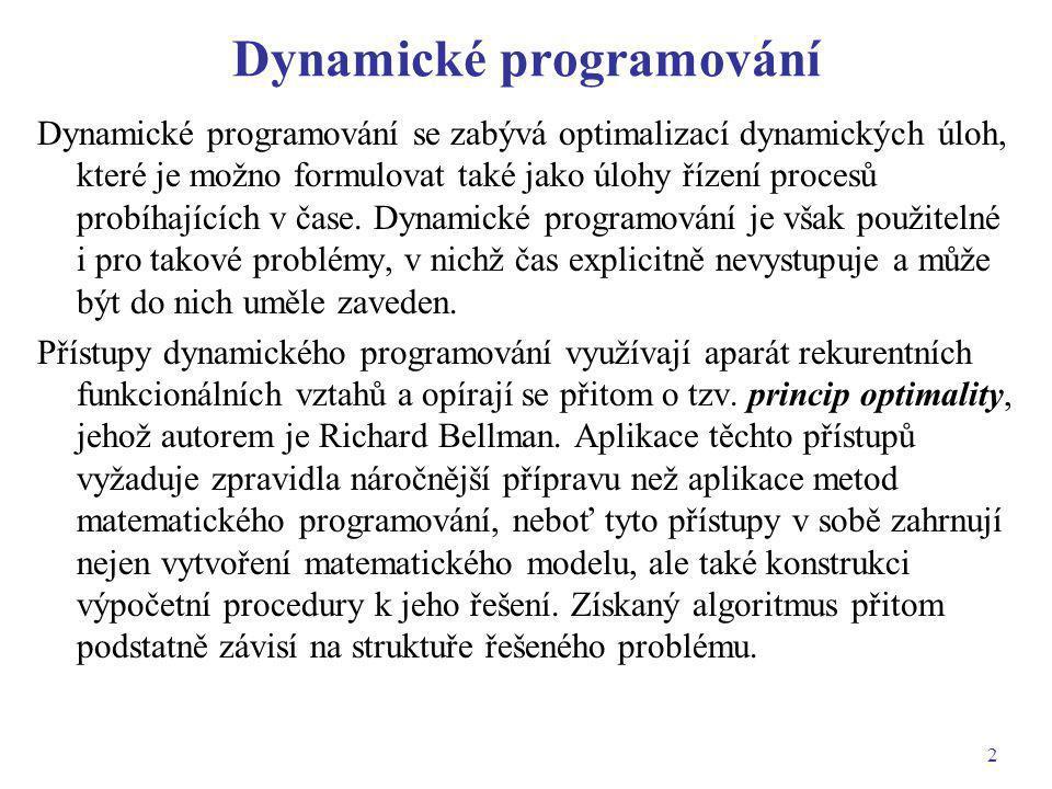 3 Příklady aplikací dynamického programování Plánování výroby a zásob.